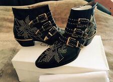 CHLOE Suzanna Gold Studded Buckled Black Leather Ankle Boots US Size 9.5 NEW Ita