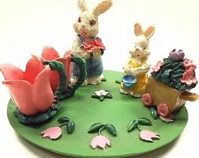 Tea Set Mini Resin 8 Piece Miniature Rabbits And Tulips