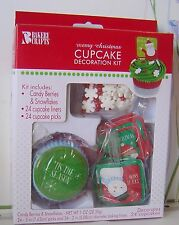 24 Cupcake CHRISTMAS Snowman Reindeer Decoration KIT Liners BAKE Santa PENGUIN