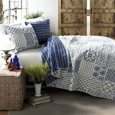 BLUE WHITE COTTAGE Full Queen QUILT SET : GEOMETRIC BOHO RETRO TEEN BEDDING