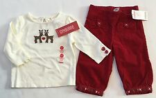 NWT Gymboree Mountain Cabin 6-12 Months Reindeer Heart Tee & Red Corduroy Pants