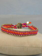 Jessica Simpson Goldtone CHIC FRILLS Bright Fuchsia Orange Weave Pulley Bracelet