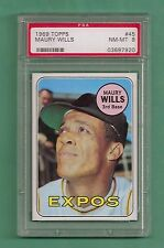 1969 Topps Montreal Expos Maury Wills # 45 PSA 8 NM-MT Rare Low Pop !!!