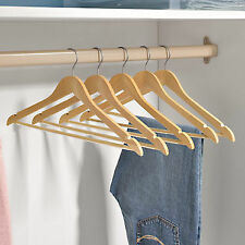 12 PC WOODEN HANGERS,PANT,SHIRT,DRESS,SKIRT,TOP,TROUSER GARMENTS(NATURAL COLOR )