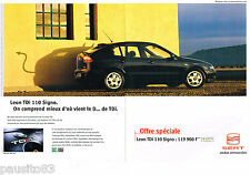 PUBLICITE ADVERTISING 065  2001  SEAT  LEON TDI 110 SIGNO  ( 2 pages)
