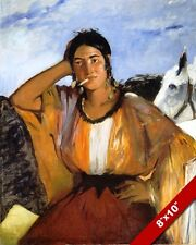 YOUNG FRENCH GYPSY WOMAN GIRL EDOUARD MANET PAINTING ART REAL CANVAS PRINT