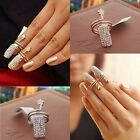 Punk Silver Gold Crystal Rhinestone Wave Nail Art Knuckle Band Finger Tip Ring