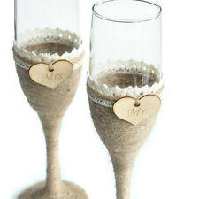1 Set Personalized Wedding Glasses, Rustic Wedding Champagne Toasting Flutes