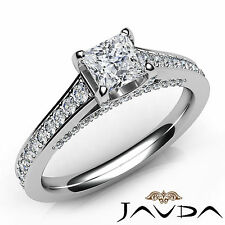 Natural Princess Diamond Pre-Set Engagement Ring GIA D SI1 18k White Gold 1.25Ct