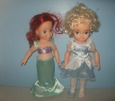 "15"" Playmates Disney Princess Ariel & Cinderella Vinyl Play Dolls"