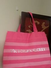 NEW Victoria's Secret Extra Large Canvas Pink Stripe Tote Bag