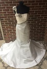 Bridal Wedding Gown Ivory Satin Dress Size 8 Tall NWT Sheri Hill Jewels Beads