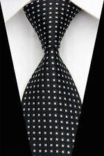BNT0535 Black White Stripes Classic JACQUARD Woven Silk Men's Tie Necktie