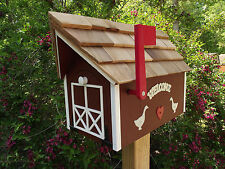 Amish Handmade Handcrafted Rural Mailbox w Flag USPS Red / White Welcome