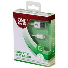 One For All CC3313 Nickel Plated Charge & Sync Male to Micro USB 1m Cable - Wht