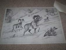 Tri-Chem 8182 BIG HORNS IN THE SNOW Sheep Panel LIQUID EMBROIDERY PAINTING
