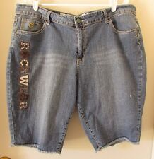 RocaWear Bermuda Blue Denim Jeans Shorts Embellished Frayed Hem Size 24