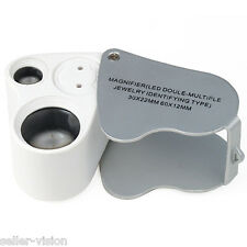 Jewellers Lens Glass Loupe 30X & 60X Magnifier 2x LED Lights Hallmark Gold