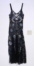 NEW FREE PEOPLE EMBROIDERED MESH MAXI DRESS, BLACK, SIZE MEDIUM
