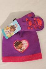 NEW Toddler Girls Beanie Hat Mittens Set Purple Disney Doc McStuffins Knit Cap