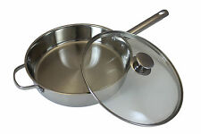 "CONCORD 11"" 18/10 Triply Stainless Steel Frying Pan Chicken Fryer Saute Cookware"