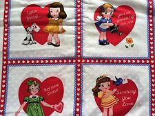 FQ OLD FASHIONED CHILDREN DOGS HEARTS VALENTINES SQUARES FABRIC VINTAGE