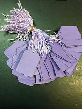 100 x 42mm x 27mm Purple Strung String Tags Swing Price Tickets Tie On Labels