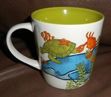 STARBUCKS COFFEE mug 2010 SEA LIFE TURTLE WHALE CRAB SUBMARINE COLORFUL euc