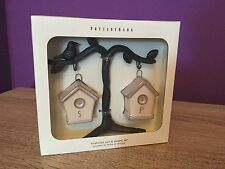 Pottery Barn Birdhouse Salt And Pepper Set. Stoneware, Collectibles, Kitchen.