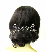 2x Ivory Silver Pearl Bridal Vine Hair Pins Flower Bead Wire Headpiece Set 1397