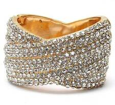 G13 Crystal Pave Multi Line Deco Hinge Bangle BRACELET Cuff Gold Tone