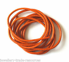 ORANGE 100% NATURAL 2mm LEATHER CORD THONG THREAD NECKLACE & JEWELLERY