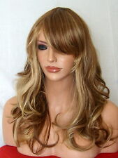 Blonde Brown Wig Womens Fashion Wavy Full Wig Ladies Hair Wig skin top wig P9