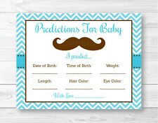 Little Man Mustache Chevron Baby Shower Baby Predictions Game Cards Printable
