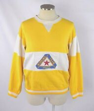 Vtg 80s COCA COLA Yellow White Stripe Sport Crew Neck Sweat Shirt Pullover S / M