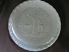 Faience de St Amand 1971 Collectors Plate 2 Deer, Green
