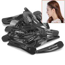 20Pcs Women Girls Kids Black Metal Hair Snap Clips Barrettes Accessories 40mm