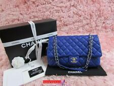 "Auth CHANEL Cobalt Royal Blue Caviar ""Easy"" Flap Bag in Jumbo Size Silver HW"
