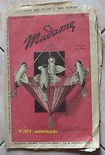 MADAME REVUE N° 264 DU 2 FEVRIER 1928 BRODERIE POINT DE CROIX CROCHET OISEAUX