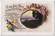 To my dear Niece on her Birthday -  Vintage Postcard - Floral Design
