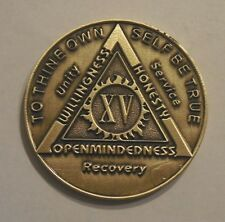 aa bronze alcoholics anonymous 15 year sobriety chip coin token medallion NEW