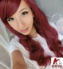 Fashion Women Wine Red Full Long Curly Wigs Cosplay Party Hair Wig Gift PO222