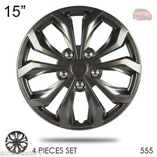 "New 15"" Hubcaps ABS Gunmetal Finish Performance Wheel Covers Set For Honda 555"