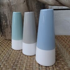 Set of 3 Stem Vases, 'Scandi' Style, Pastels, Grey, Green, Blue 14.5cm