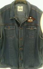 LN Rare MCycle Denim Shirt Vest w HOG Harley Owner Group & Snap-On Racing Patchs