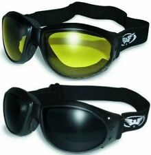 (2 GOGGLES) Motorcycle Riding SUPER DARK & Yellow Glasses Sunglasses Burning Man