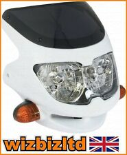 Motorbike WHITE Headlight with screen and built in Indicators HLUSFW