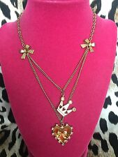 Betsey Johnson Vintage Ice Princess Crown Lucite Heart Pink Bow Crystal Necklace