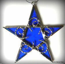 Stained Glass Handmade Blue Star ornament sun catcher
