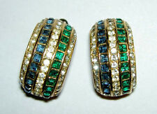 Vintage CHRISTIAN DIOR Germany Faux Sapphire Emerald Rhinestone Creole Earrings